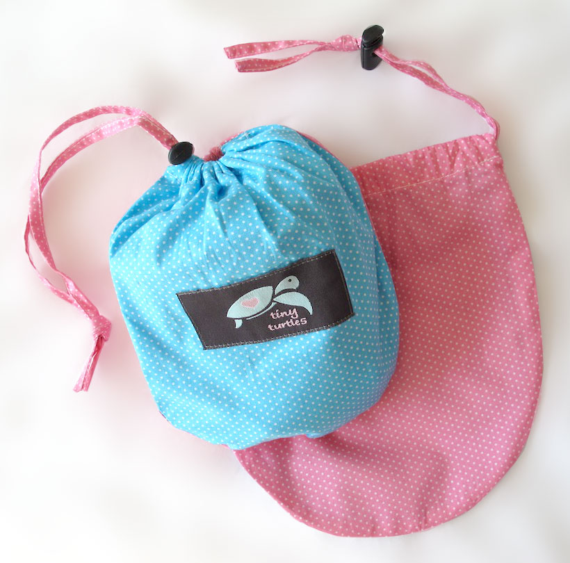 tiny turtles nursing cover in matching material bag