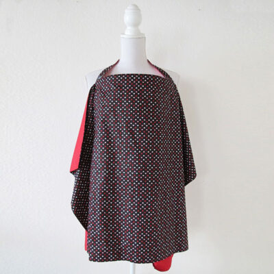red with black heart pattern reversible nursing cover