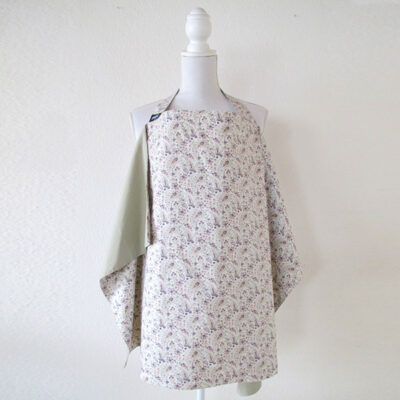 light khaki green with paisley pattern reversible nursing cover