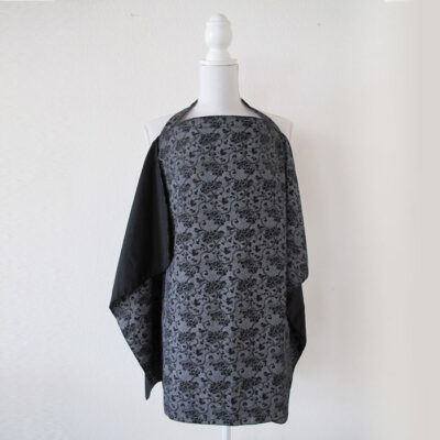 black with paisely pattern reversible nursing cover